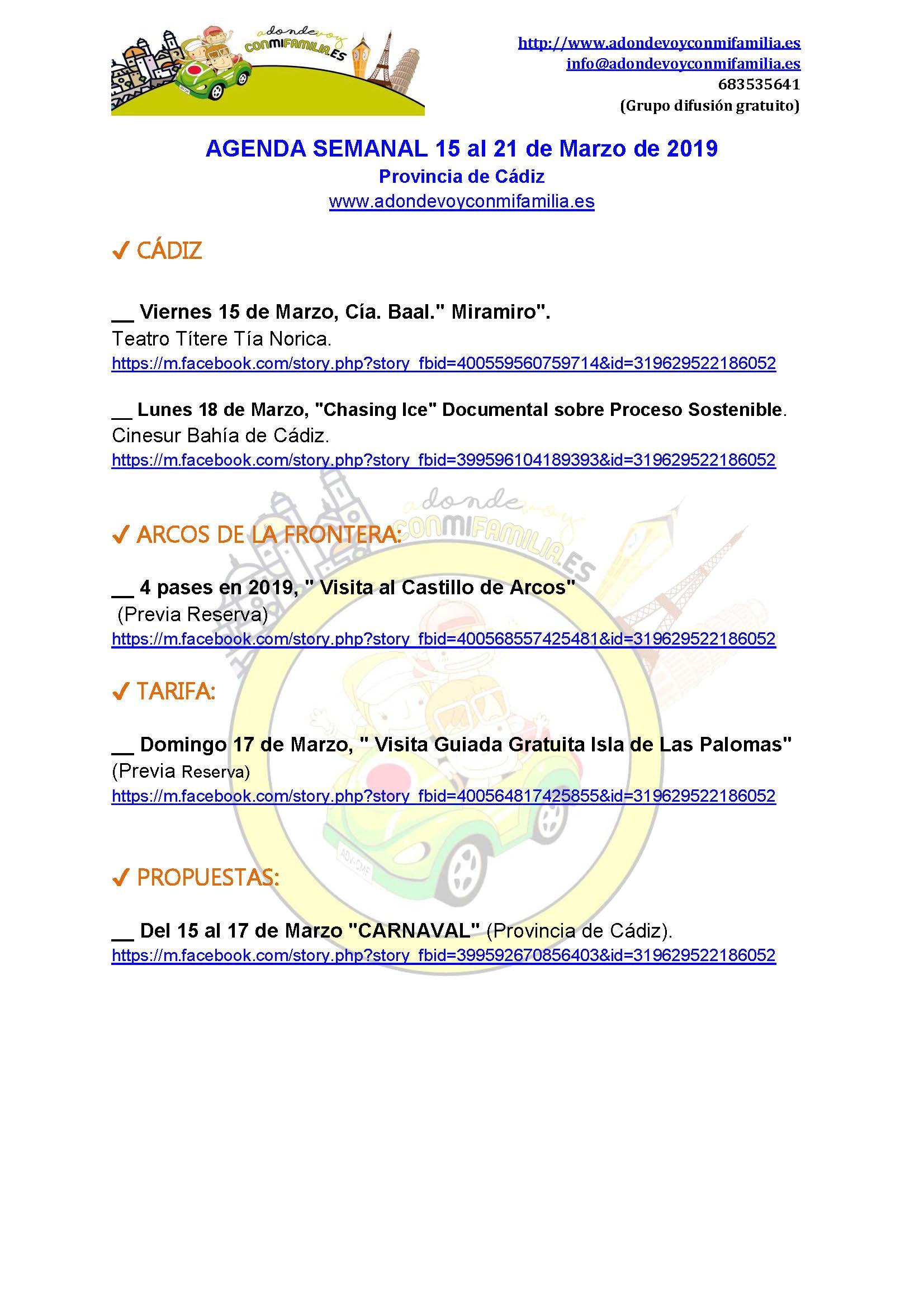 Agenda semanal 15 al 2 4 marzo 2019 provincia cadiz adondevoyconmifamilia