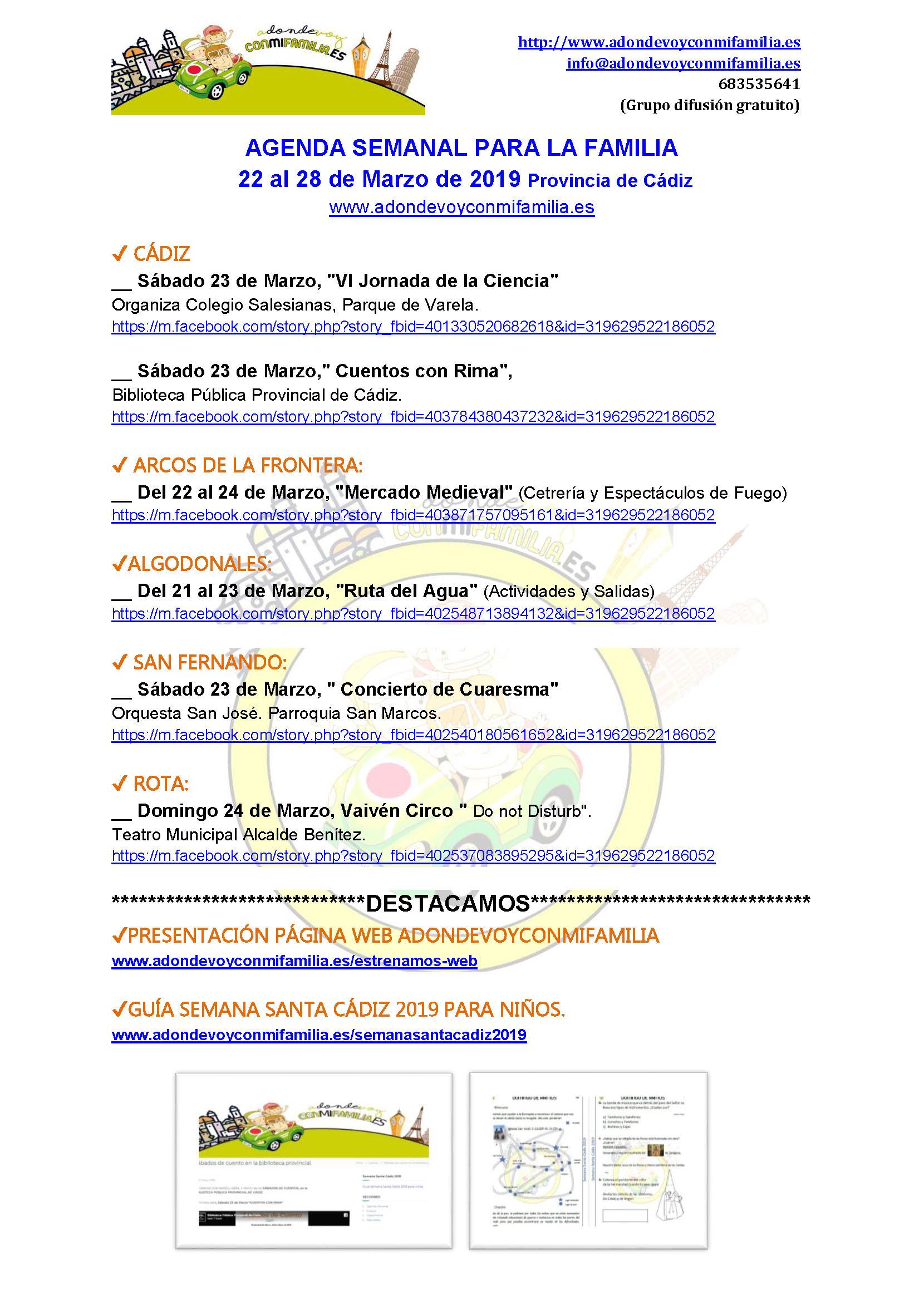 Agenda semanal familiar 22 al 28 marzo 2019 provincia Cadiz Adondevoyconmifamilia