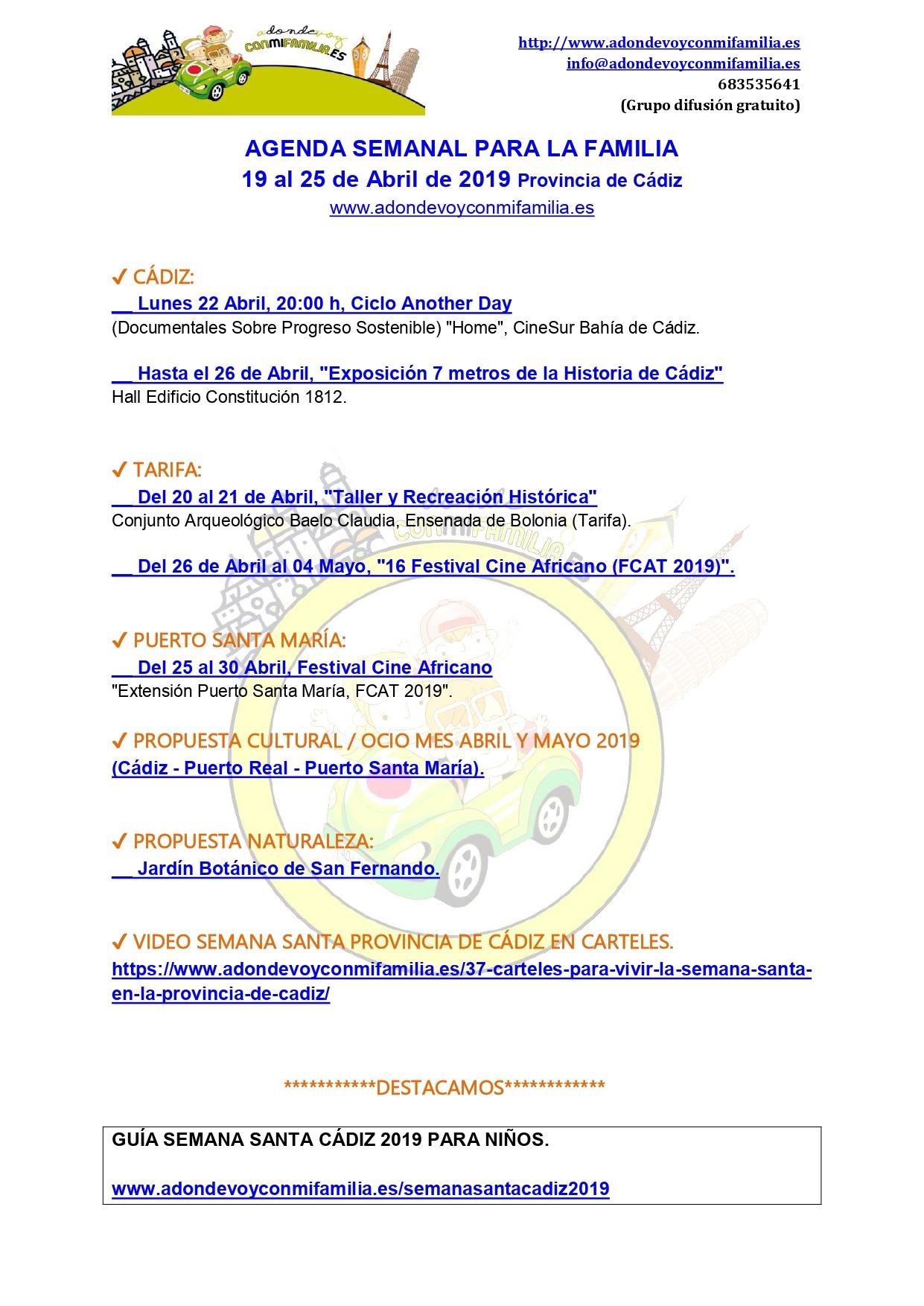 Agenda semanal familiar 19 al 25 abril 2019