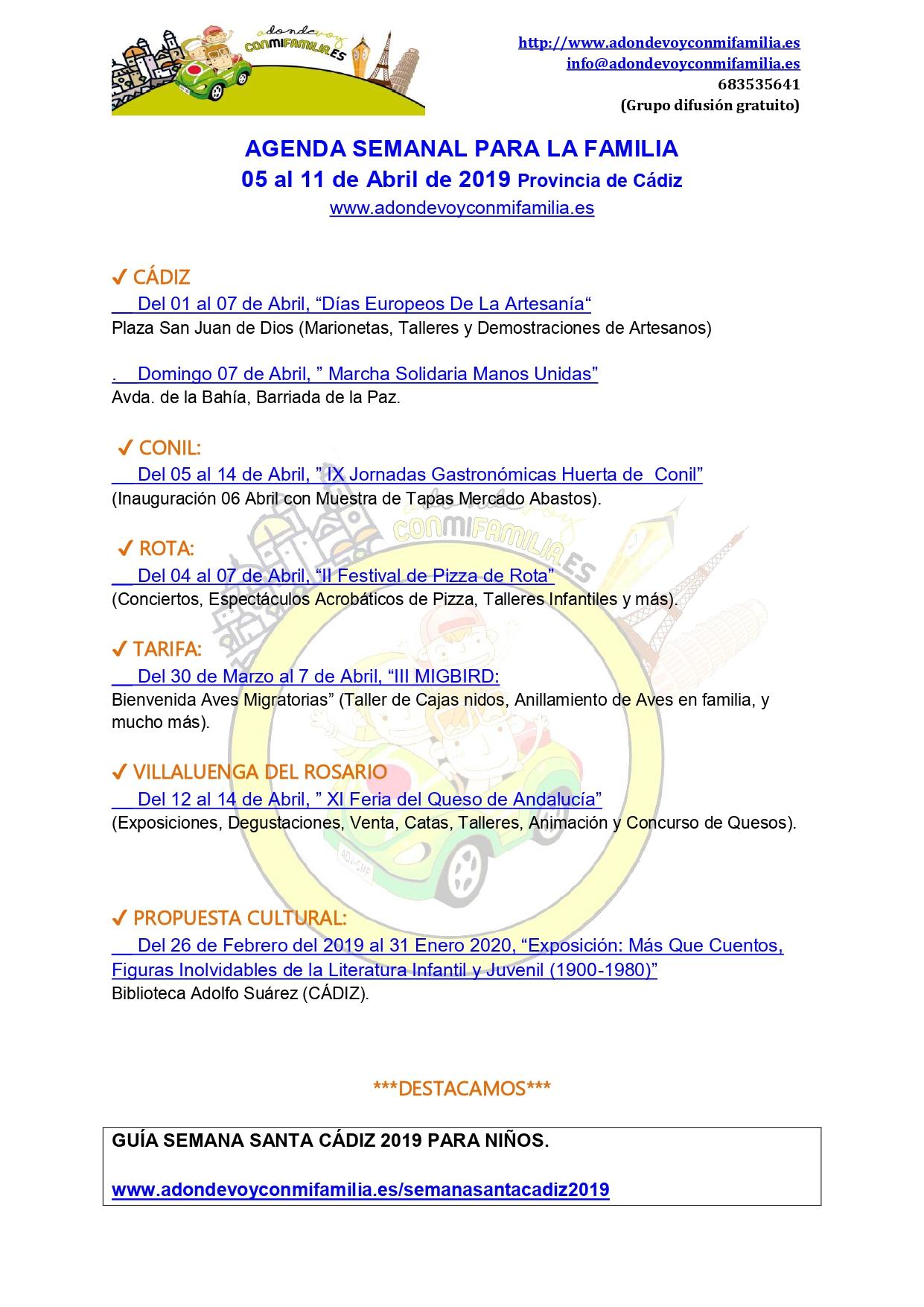 Agenda semanal familiar 5 al 11 abril 2019 Provincia de Cadiz Adondevoyconmifamilia