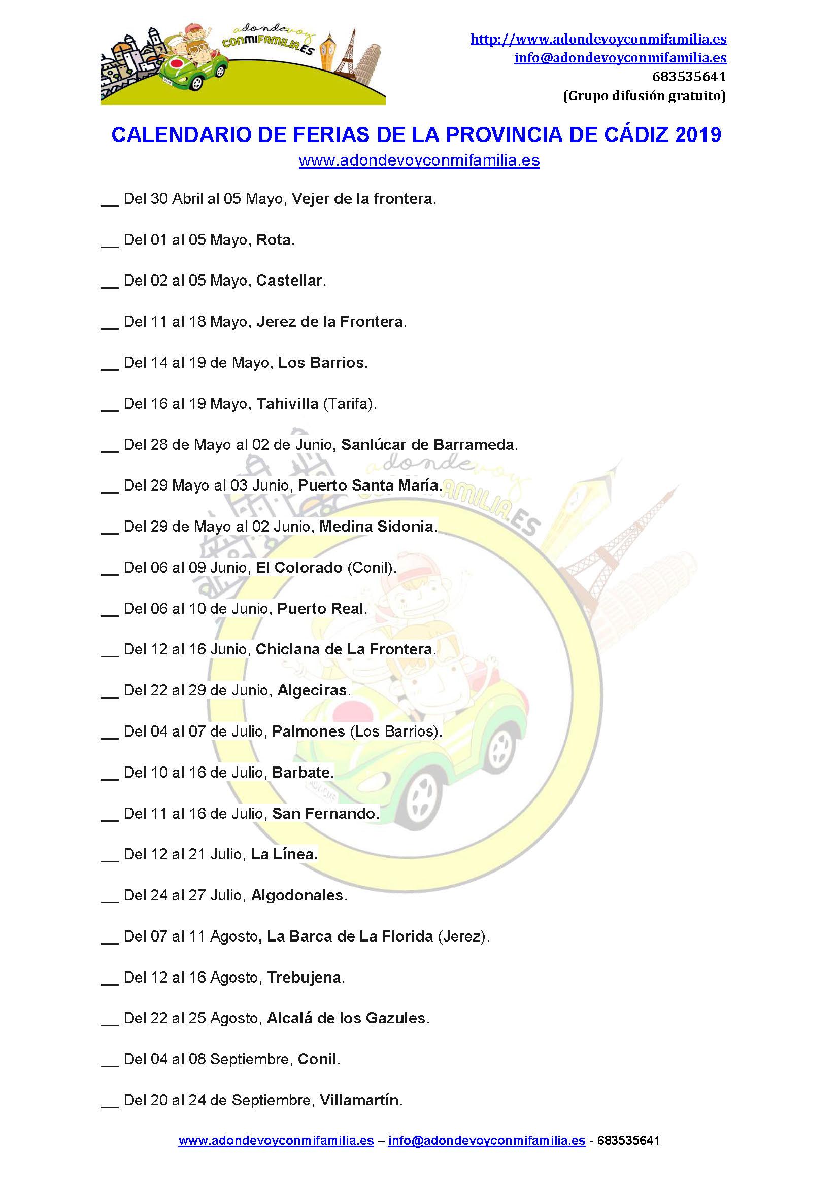 Calendario De Ferias De La Provincia De Cádiz 2019 adondevoyconmifamilia
