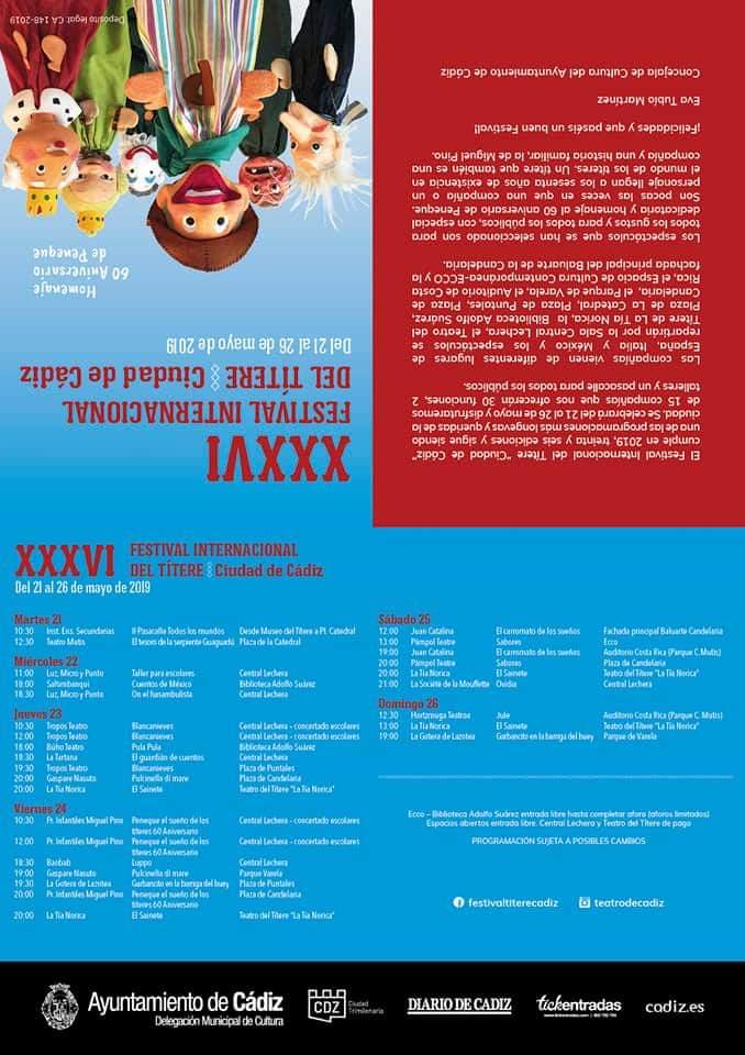 Del 21 al 26 de Mayo de 2019, XXXVI Festival Internacional del Títere (Ciudad de Cádiz) adondevoyconmifamilia cadiz niños