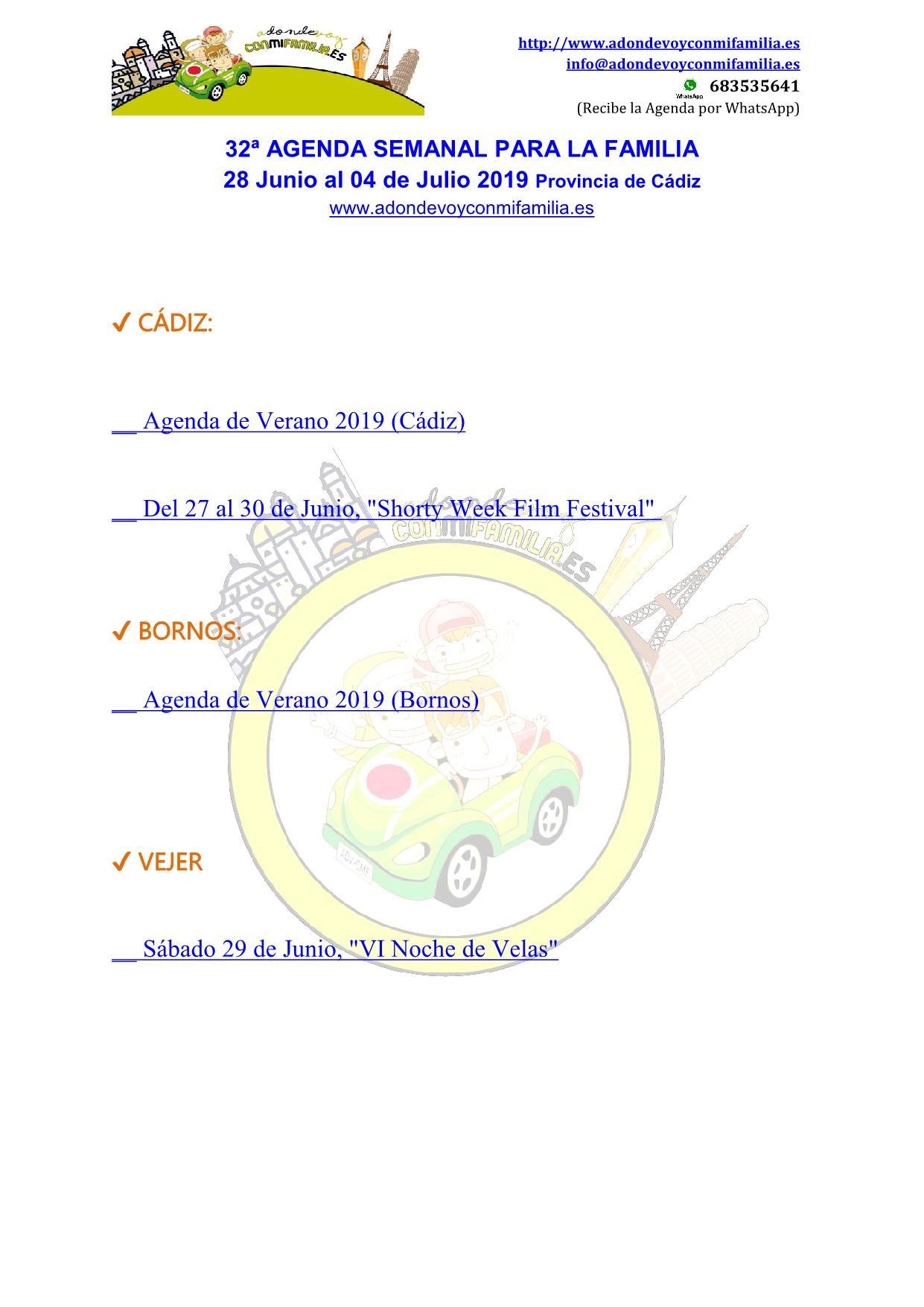 032 Agenda semanal familiar 28 junio al 04 Julio 2019