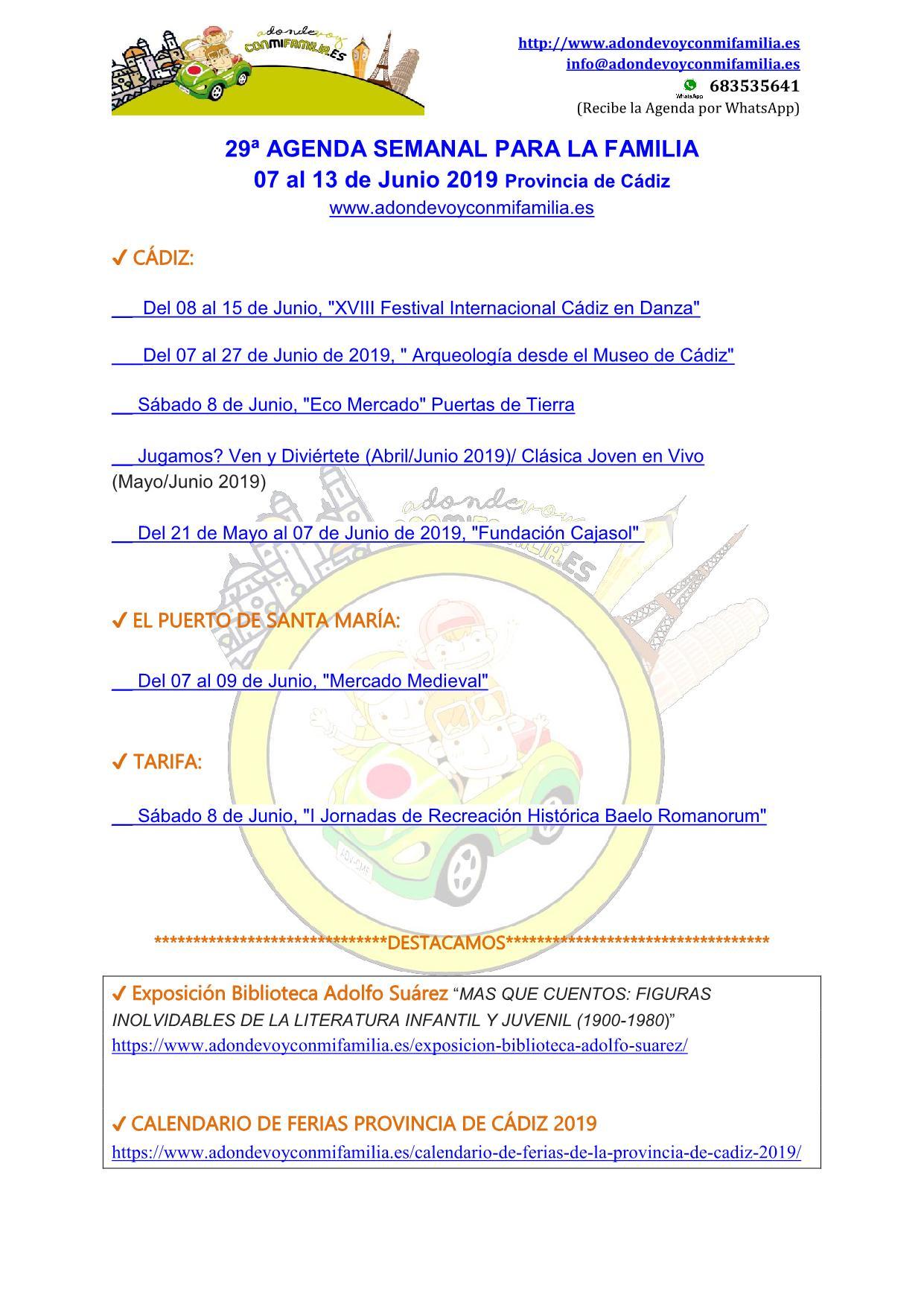 Agenda semanal familiar 07 al 13 Junio 2019