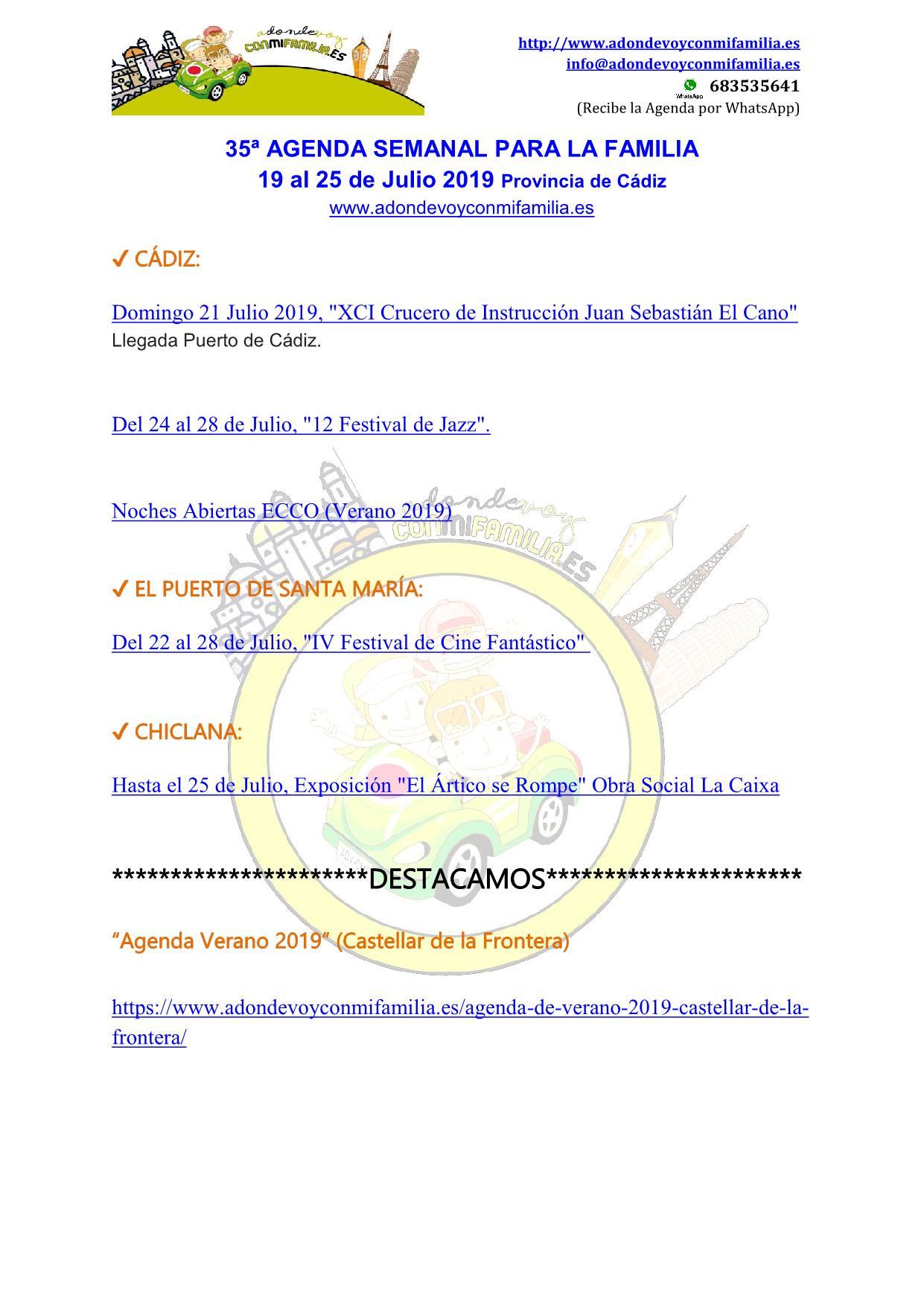 035 Agenda semanal familiar 19 al 25 Julio 2019