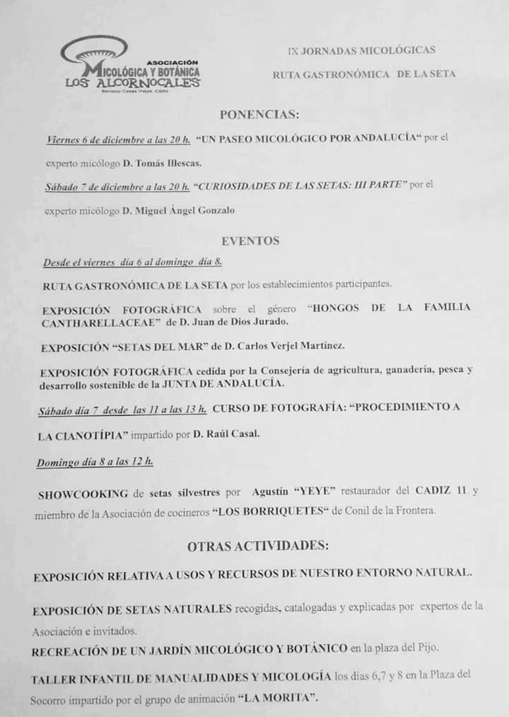 IX JORNADAS MICOLÓGICAS Familia con Niños (BENALUP-CASAS VIEJAS) Del 06 al 08 de Diciembre de 2019