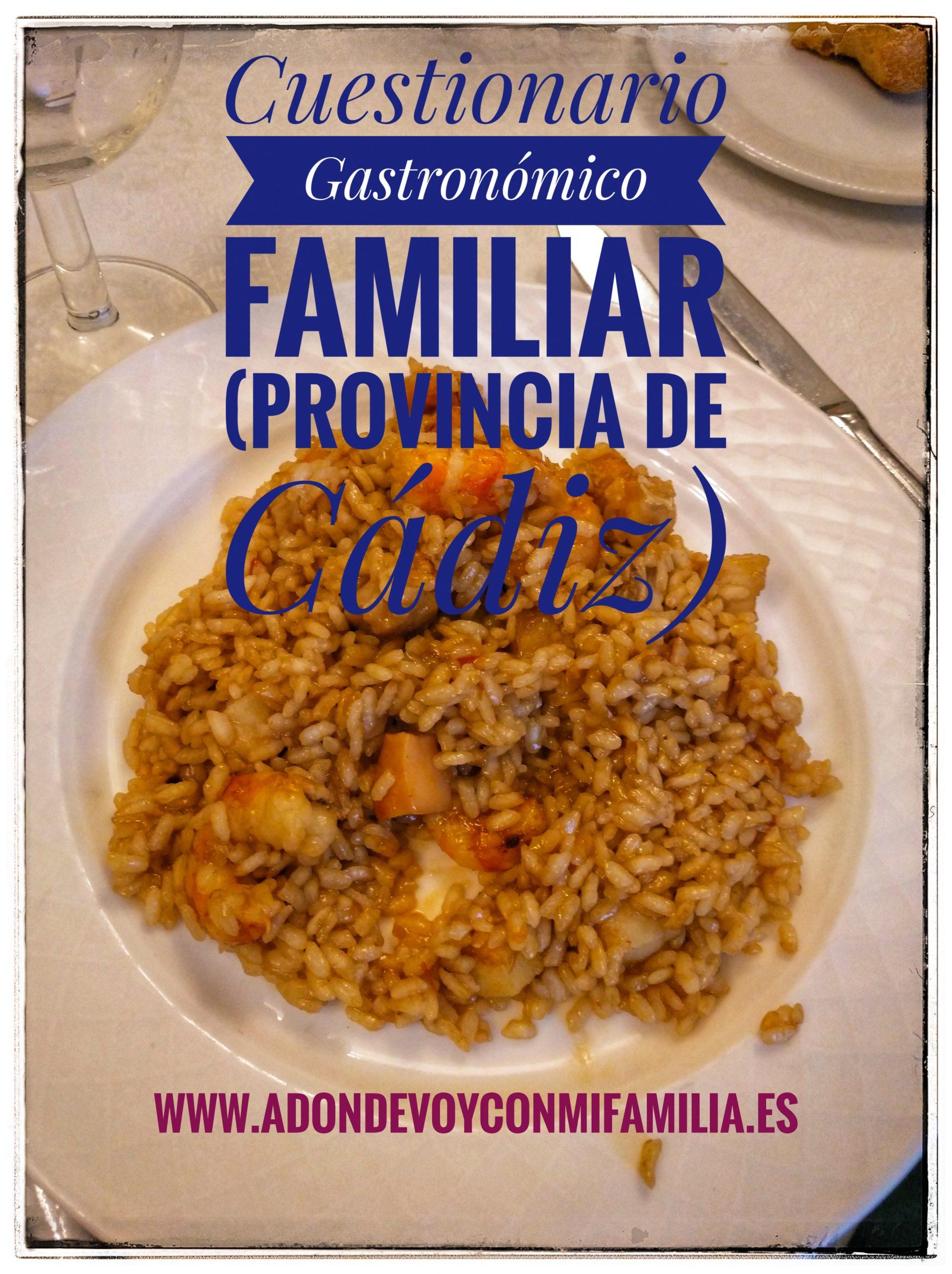 Cuestionario Gastronómico Familiar Provincia de Cádiz