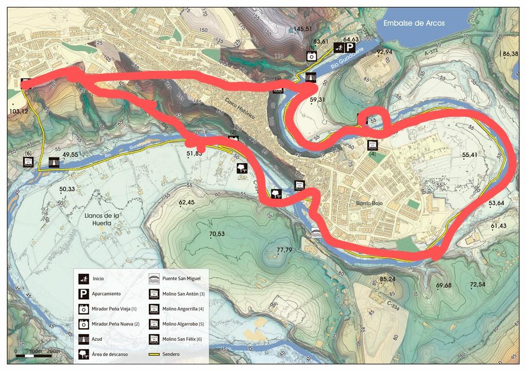 sendero los tajos de arcos adondevoyconmifamilia agosto 2020 mapa