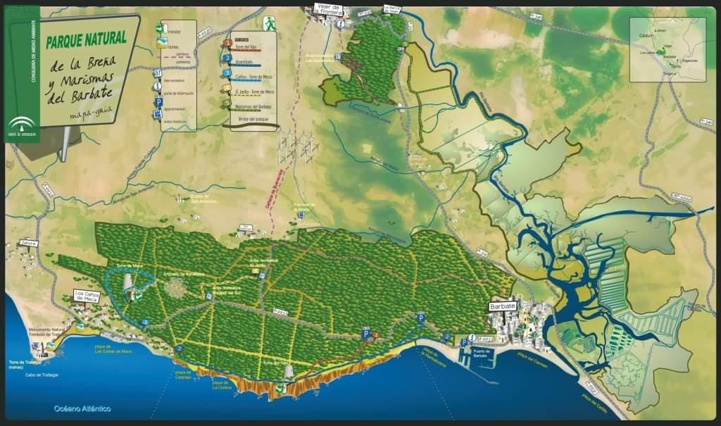 mapa parque natural la breña y marismas del barbate