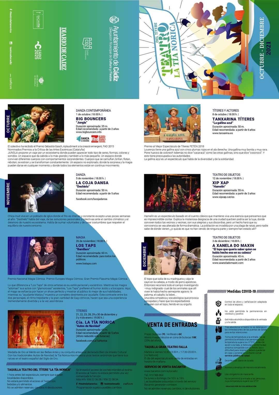 cartel programación teatro la tia norica octubre diciembre 2021