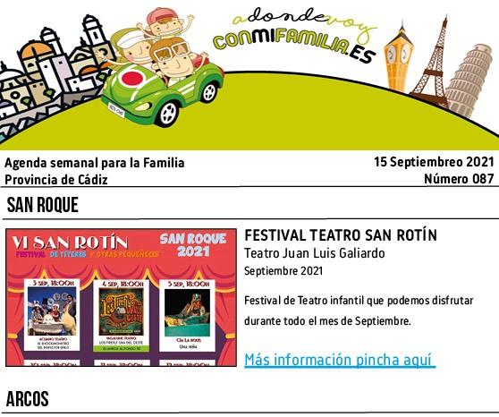 Agenda semanal con la programación de eventos del verano en la provincia de Cádiz. Destacamos eventos en Jerez, el Puerto,, El Bosque y Conil