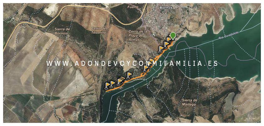 sendero ribera del embalse de bornos mapa wikiloc adondevoyconmifamilia